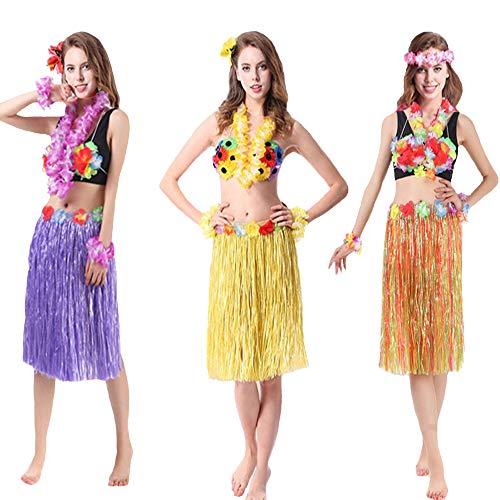 (Grass Skirts for Adults Hula Skirt Plus Size Hawaiian Skirt Elastic Waist Purple)