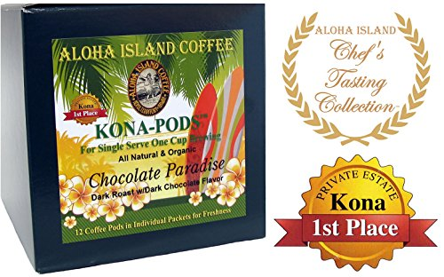 Senseo Pods From Our Chefs Tasting Collection of Kona Hawaiian Coffee, Chocolate Flavored, 12 Pods