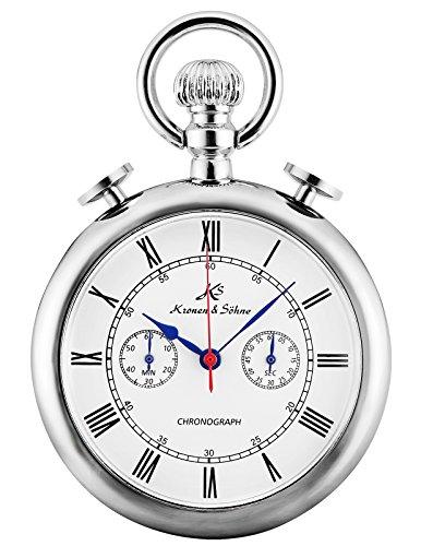 (KS Classic Roman Numerals Markers Chronograph Function Quartz Pocket Watch KSP092)