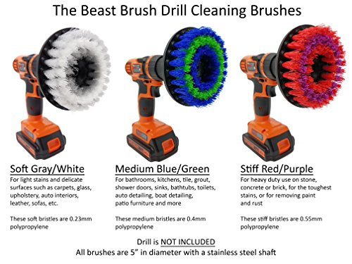 Medium 5'' Drill Brush Attachment: Beast Brush Spin Power Scrubber for Fast and Easy Cleaning, Medium Bristles by Beast Brush (Image #3)