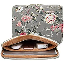 KAYOND Gray Rose Pattern 13 inch Canvas laptop sleeve with pocket 13 inch 13.3 inch laptop case macbook air 13 case macbook pro 13 sleeve