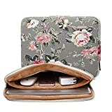 KAYOND Gery Rose Patten canvas Water-resistant 13.3 Inch Laptop Sleeve case for 12.5inch 13inch Notebook Computer 12.9 Pocket Tablet