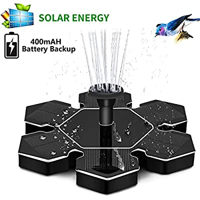 Solar Fountain, New Upgraded 1.5W Solar Powered Bird Bath Fountain Pump Solar Panel Kit, Bird Bath with Battery Backup, Outdoor Watering Submersible Pump for Pond, Pool, Garden, Fish Tank, Aquarium