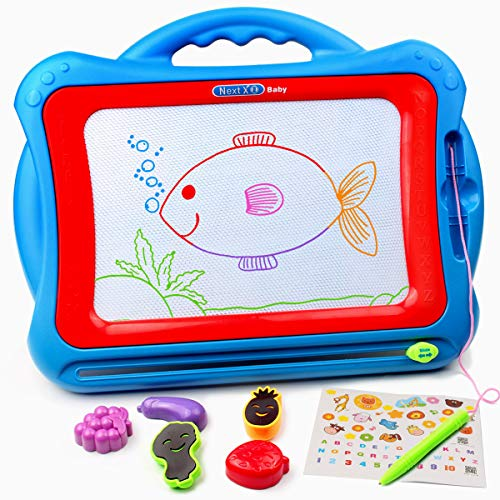 Tomons Magnetic Drawing Board, Erasable Sketch Board, Write and Learn Creative Toy for Kids Toddler Boy Girl( Blue-Red )
