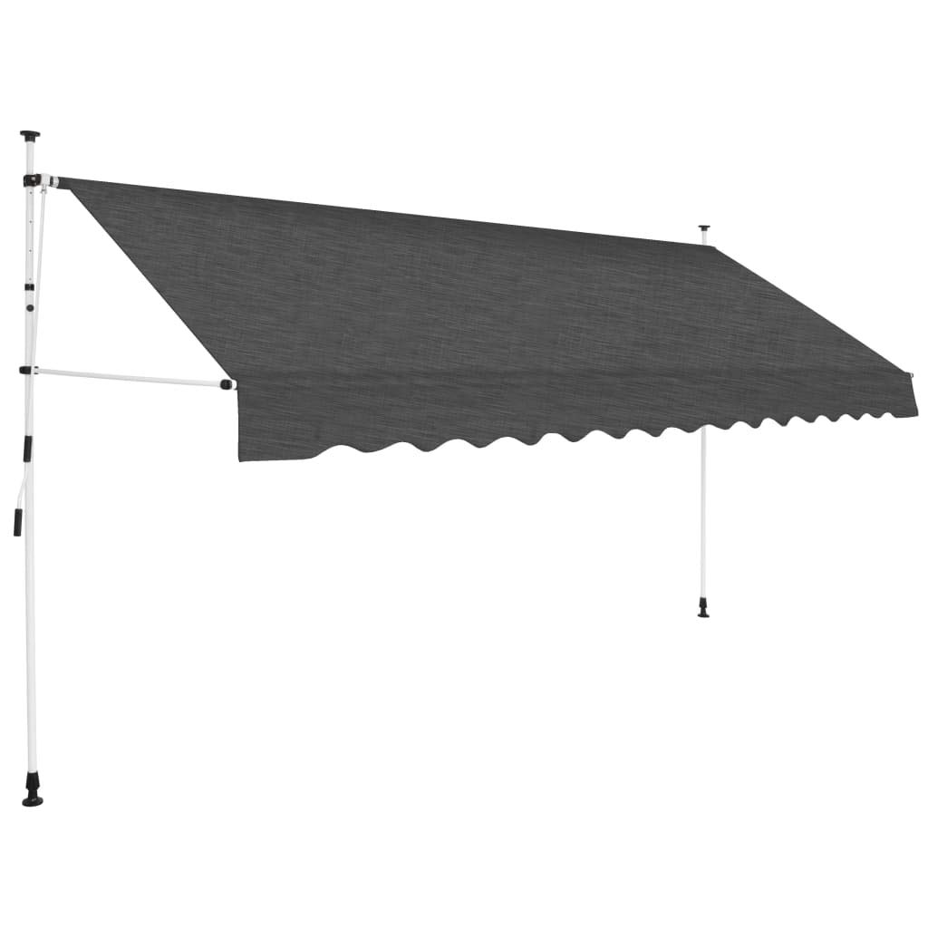 vidaXL Manual Retractable Awning 137.8'' Anthracite by vidaXL