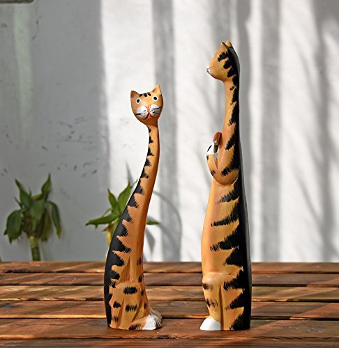 Labu Store Creative Nordic Cat Wooden Furnishing Articles Home Decoration Carving Wood Cat Gift Painting Crafts Decor Miniatures