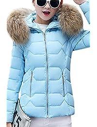 YMING Womens Down Cotton Winter Jacket Short Slim Fur Collar Coat