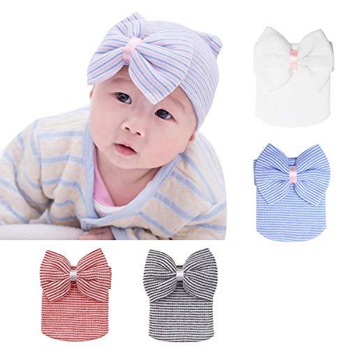 (LOVINO Newborn Hospital Hat Baby Hats Nursery Beanie Cap with Bow Cute Stripe Infant Hat Soft Turban Hats for Baby Girls 4 Pack B)