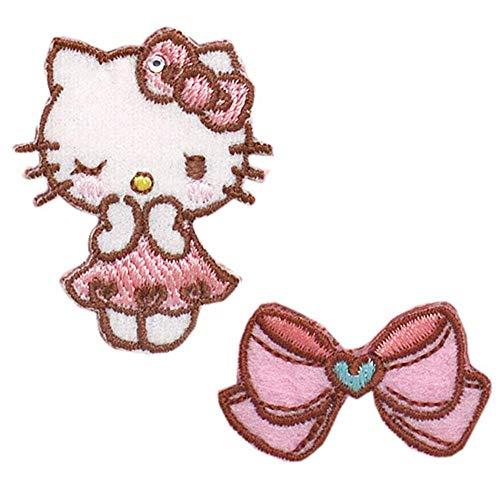 ハローキティ ワッペン 刺繍ワッペン キャラクター アイロンワッペン 2枚セット キティちゃん Hello Kitty サンリオ アップリケ ステッカー シール 正規品