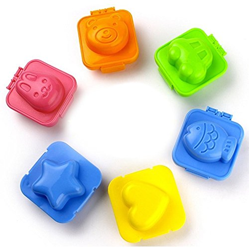 Cute Egg Mold | Super Adorable Egg Molds for Medium/Large Eggs and Any Moldable Food | Extremely Durable Non Toxic ABS | Effortless To Use and Clean | Set of 6 (Baby Bear, Cute Rabbit, Mini Car, Little Star, Love, and Ocean Fish) | 810