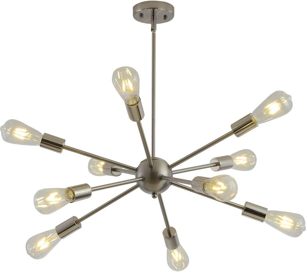 Modern Sputnik Chandelier 10 Light Brushed Nickel Finish Chandelier Mid Century Pendant Lighting Vintage Ceiling Lighting Fixture Kitchen Bathroom Dining Room Bedroom Hallway