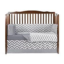 BabyDoll Minky Chevron Crib Bedding Set, Grey