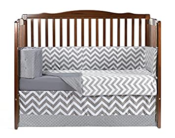 BabyDoll Chevron Crib Dust Ruffle Grey