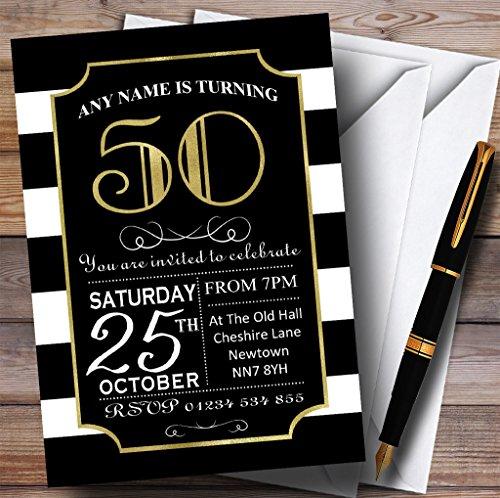 Black & White Stripy Gold 50th Personalized Birthday Part...