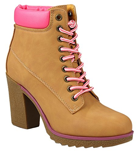 JJF Shoes Women JoJo Tan/Fuchia Military Two Tone Lace up Platform Chunky High Heel Ankle Booties-7.5