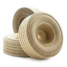 "2″ inch Treaded Wooden Toy Wheel at 3/4"" inch Thick with a 3/8"" inch Hole – Bag of 20"