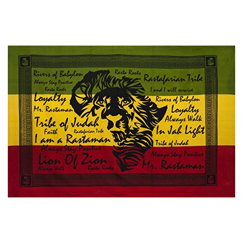 Lakhays African JAH Lion Reggae Tapestry Wall Hanging Bed Spread-Rasta-One Size ()