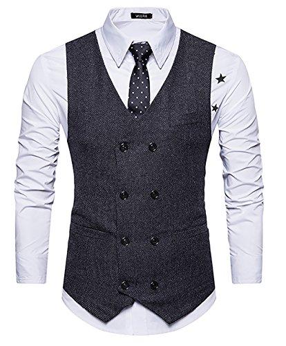 WULFUL Mens Slim Fit Double Breasted Tweed Waistcoat Vintage Gentleman Suit Vest Black S ()