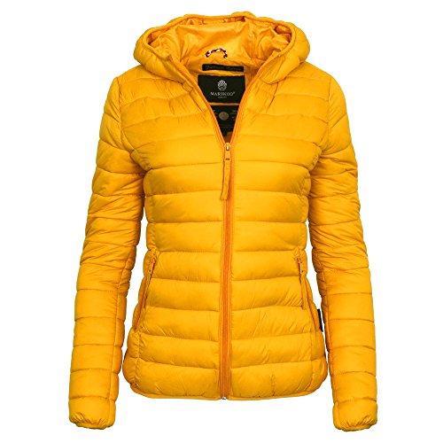 Marikoo MASCARA Damen Jacke Steppjacke Übergangsjacke Kapuze gesteppt XS-XXL, Größe:S - 36;Farbe:Gelb