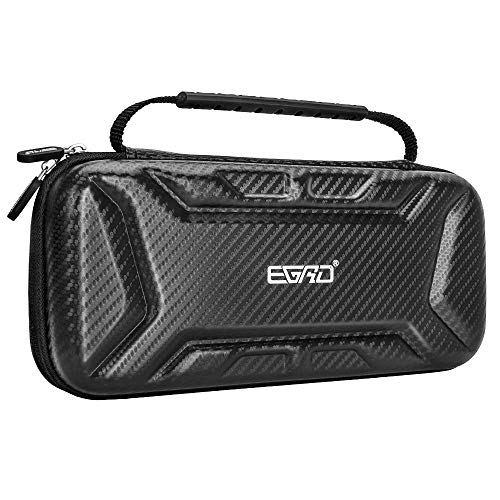 Nintendo Switch Case- EGRD Switch Case Carrying Case for Nintendo Switch Accessories – Carbon Fiber Travel Case with Holder Design& 15 Games for Nintendo Switch Console& Accessories – Black