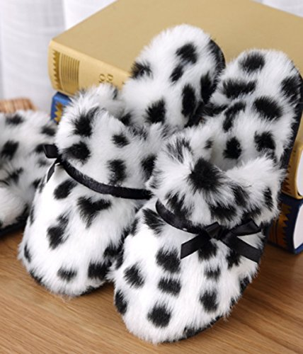 Cattior Womens Leopard Warm Ladies Slippers Bedroom House Indoor Slippers Black o08xYwp