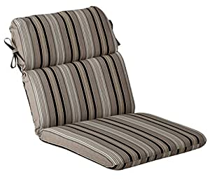 Outdoor Patio Furniture High Back Chair Cushion - Black and Tan Striped Voyage