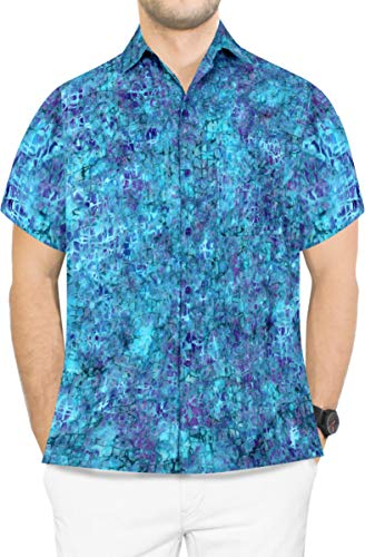 LA LEELA Men's Beach Outwear Regular Fit Hawaiian Shirts for Men XXL Blue_Aa122 ()
