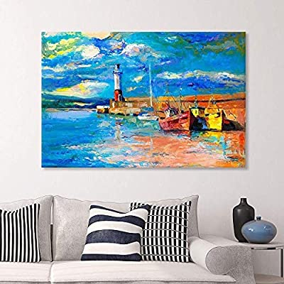 Canvas Prints Wall Art - Original Oil Painting of Lighthouse and Boats on Canvas.Rich Golden Sunset Over Ocean - 16