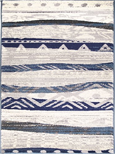 Adgo Atlantic Collection Modern Abstract Geometric Sand Wave Indian Soft Pile Contemporary Carpet Thick Plush Stain Fade Resistant Easy Clean Bedroom Living Room Floor Rug, Blue Beige, 5' x 7' ()