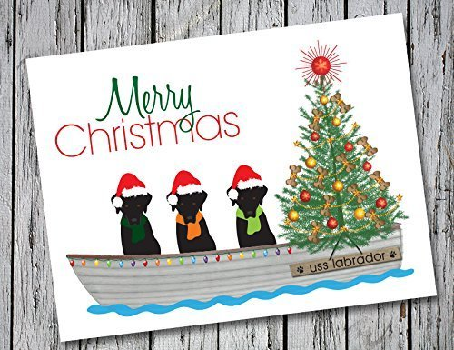 Labrador Retriever Christmas Card Set of 20 with Envelopes - 3 lovable labs on the USS Labrador Christmas Cards