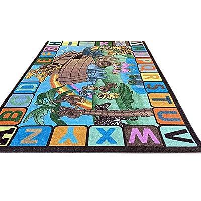 Kids Reversible Alphabet ABC Animal Area Rug Double Sided Educational Classroom Kindergarten Nursery Durable Learning Carpet Noah Design 61 (6 Feet 6 Inch X 9 Feet 9 Inch): Kitchen & Dining