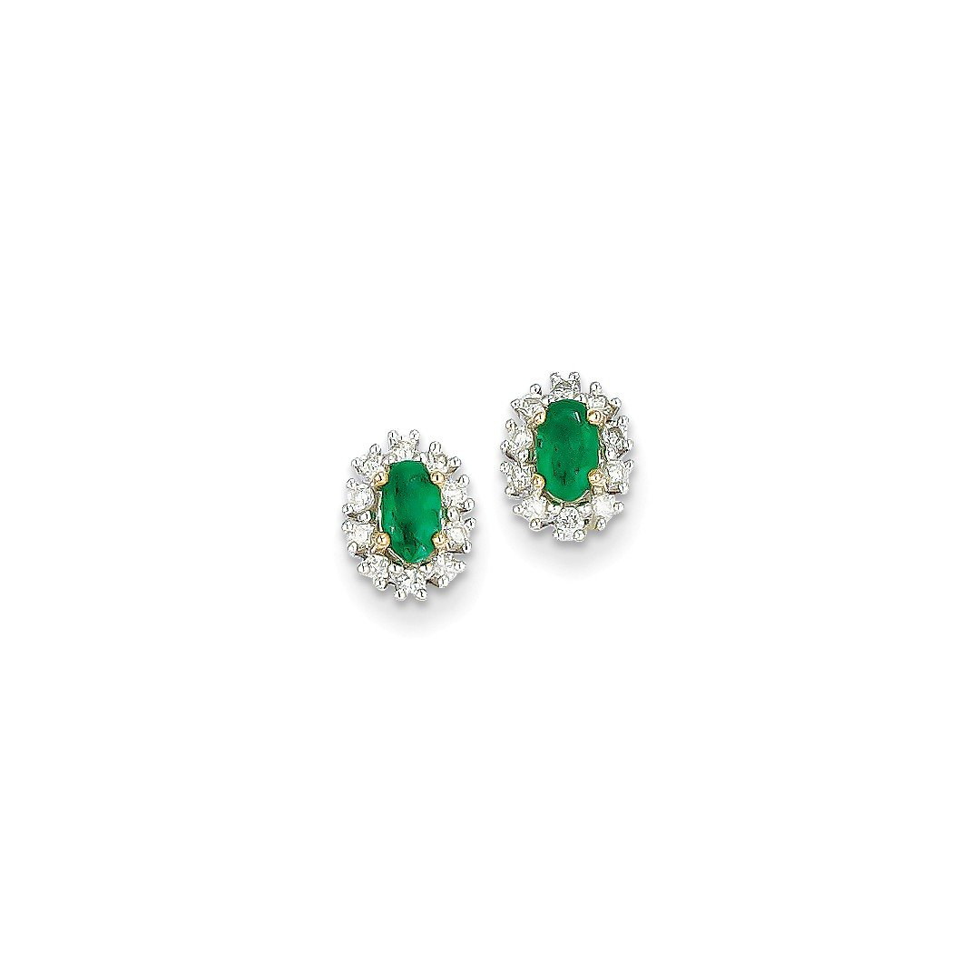 ICE CARATS 14k Yellow Gold 1/5ct Diamond Green Emerald Post Stud Ball Button Earrings Fine Jewelry Gift Set For Women Heart