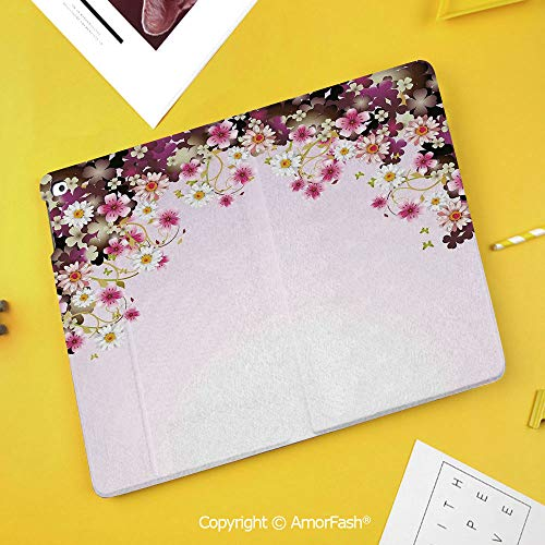 (Printed Case for Samsung Galaxy Tab S4 Corner Protection Premium Vegan Leather Stand Cover,Floral,Daisy Bouquet Botany Petals with Wedding Valentines Romance Design,Light Pink Purple)