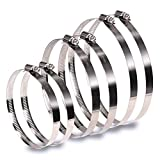 InduSKY 6Pcs 4 inch 5 inch 6 inch Hose Clamp Set 304 Stainless Steel Duct Clamps Worm Gear Adjustable 91-165mm Range Hose Clamp Fuel Line Clamp for Automotive and Mechanical Applications