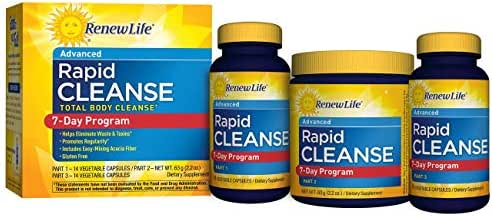 Renew Life Adult Cleanse - Rapid Total Body Cleanse - 3-Part, 7-Day Program - Gluten, Dairy & Soy Free - 28 Vegetarian Capsules + 2.2 Ounce Powder Formula