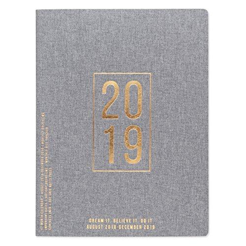 DesignWorks Ink 17-Month Simple Cloth Calendar, Grey Linen- 2019 Block