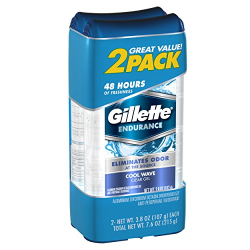 Gillette Cool Wave Clear Gel Men's Antiperspirant and Deodorant 3.8 oz each 2-Pack  Packaging may Vary