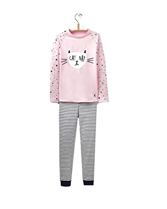 5e6a998ace Joules Junior Sleepwell Jersey Girls Pyjama Set - Rose Pink Cat  3   Amazon.co.uk  Clothing