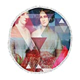 KESS InHouse Suzanne Carter Twins Red Blue Round Beach Towel Blanket