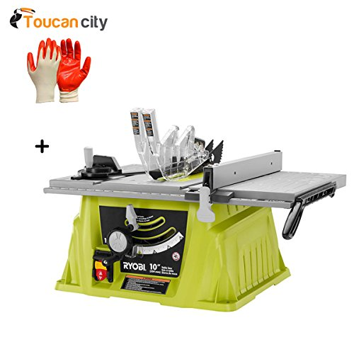 Ryobi 10' Table Saw without Stand RTS10NS and Toucan City Nitrile Dip Gloves (5-Pack)