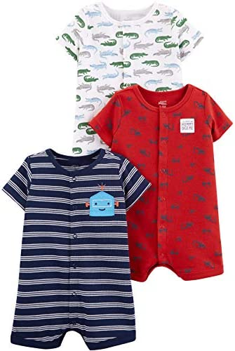Simple Joys by Carters Baby Lot de 3 barboteuses /à clipser pour b/éb/é gar/çon