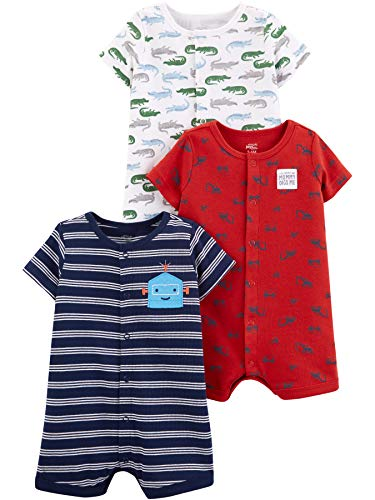 Simple Joys by Carter's Boys' 3-Pack Snap-up Rompers, Alligators/stripe/Diggers, 3-6 Months