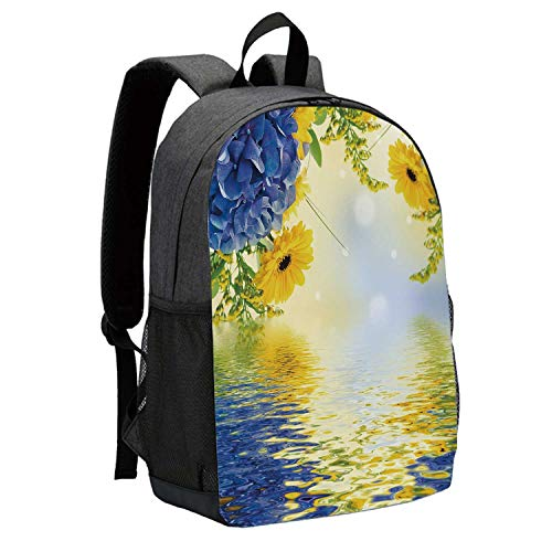 - Yellow and Blue Durable Backpack,Romantic Bouquet of Hydrangeas and Asters on Water Background for School Travel,12