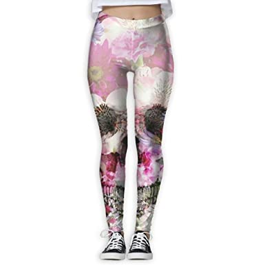 0f49949d556429 Mipu Shangmao Beautiful Flowers and Skull Women's Yoga Trousers Color Print Training  Leggings at Amazon Women's Clothing store: