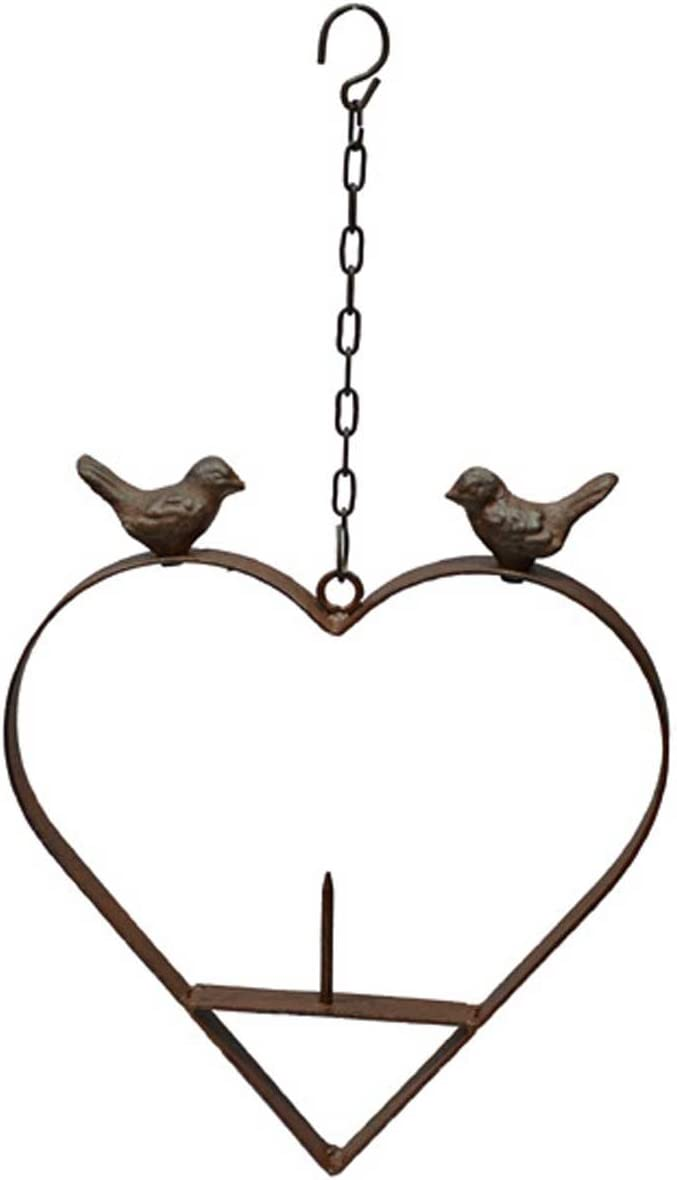Meisenknödelhalter 2 Vögel auf Herz aus Metall Vogel-Futterstation Gartendeko
