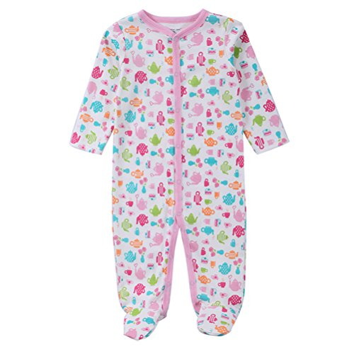 Price comparison product image Footed Pajamas Baby Girl,  Boy Sleeper Soft Cotton Long Sleeve Jumpsuit (4-6 Months) Teapot