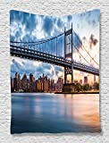 Ambesonne New York Tapestry Wall Hanging Decor, NY City Kennedy Triboro Bridge and Queens Lights Manhattan River America Art Picture, for Bedroom Living Room Office Dorm, Navy Blue Grey and Peach