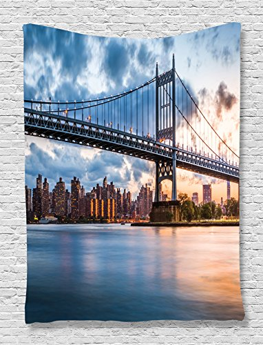 Ambesonne New York Tapestry Wall Hanging Decor, NY City Kennedy Triboro Bridge and Queens Lights Manhattan River America Art Picture, for Bedroom Living Room Office Dorm, Navy Blue Grey and Peach ()