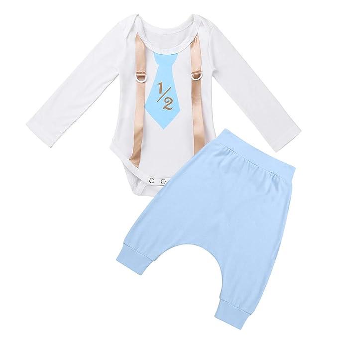 CHICTRY Mameluco Blanco de Bebés Niños Pelele Algodón Traje de Cumpleaños Recién Nacidos Monos Camiseta Manga