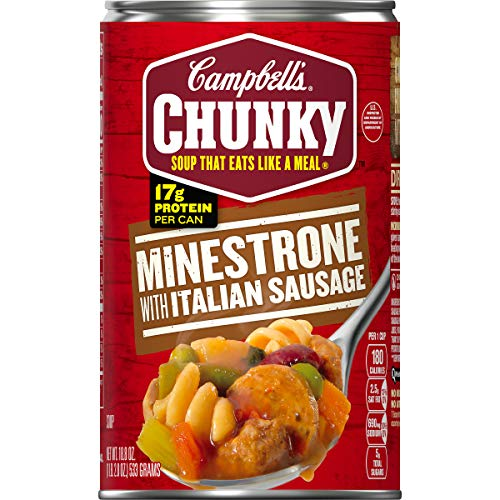 Campbell's Chunky Soup, Minestrone with Italian Sausage, 18.8 Ounce (pack Of 12)